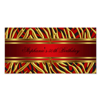 50th Birthday Party Red Zebra Gold Black 2 Poster