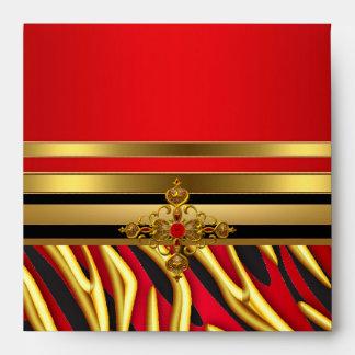 50th Birthday Party Red Zebra Gold Black Envelope