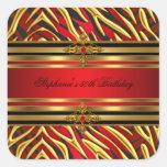50th Birthday Party Red Zebra Gold Black Square Sticker