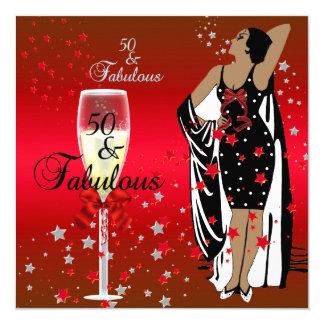 """50th Birthday Party Retro Diva Art deco Red Black 5.25"""" Square Invitation Card"""