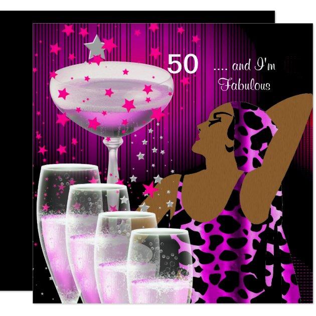 50th Birthday Party Retro Diva Fabulous Pink Card | Zazzle