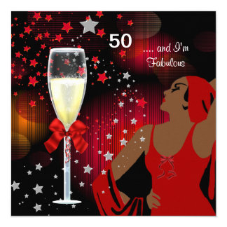 50th Birthday Party Retro Diva Fabulous Red White Card