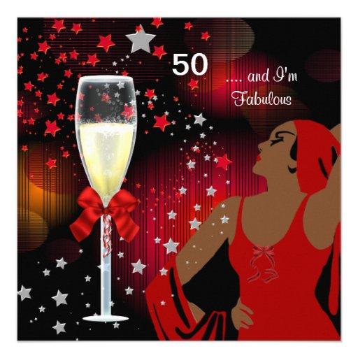 50th Birthday Party Retro Diva Fabulous Red White 5.25x5 ...