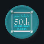 """50th birthday Party Retro W Frame paper Plates<br><div class=""""desc"""">Vintage and retro style for this customizable 50th birthday Paper plates with white frame. You can easily change color background and text (font,  color,  size and position) by clicking the customize button.</div>"""