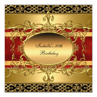 50th Birthday Party Rich Red Gold Flourish Card