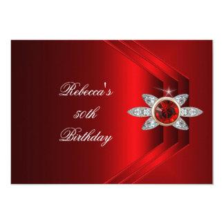 50th Birthday Party Rich Red Silk Diamond Image Card