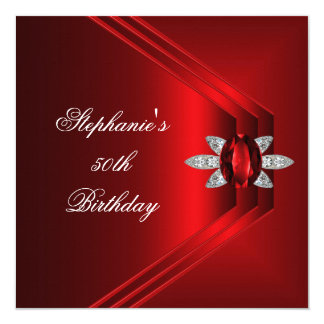 "50th Birthday Party Rich Red Silk Diamond Jewel 5.25"" Square Invitation Card"