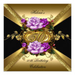 50th Birthday Party Roses Purple Gold Black Invitation
