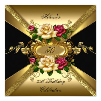 50th Birthday Party Roses Red Cream Gold Invitation