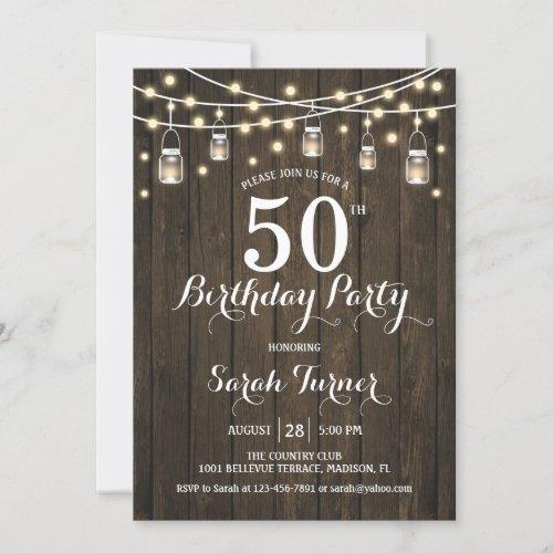50th Birthday Party _ Rustic Wood Invitation