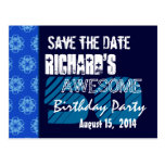 50th Birthday Party Save the Date Blue Midnight Post Card