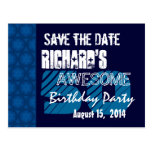 50th Birthday Party Save the Date Blue Midnight Postcard