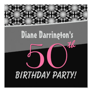 50th Birthday Party Silver and Black Floral W288 Card