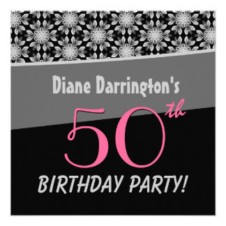 50th Birthday Party Silver and Black Floral W288 Personalized Invite