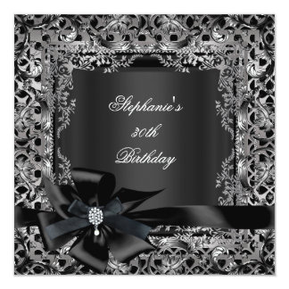 50th Birthday Party Silver Black Bow Lace Card
