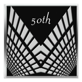 """50th birthday Party Silver Black silver 1 5.25"""" Square Invitation Card"""