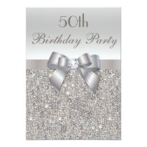 50th Birthday Party Silver Sequins, Bow & Diamond Invitation