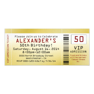 50th Birthday Party Smooth Gold Ticket Invitation