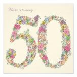 "50th Birthday Party Spring Bloom Custom Invitation 5.25"" Square Invitation Card"