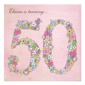 50th Birthday Party Spring Blooms Custom Invites
