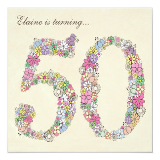 50th Birthday Party Spring Blooms Custom Invites