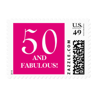 50th Birthday party stamps | fifty and faboulous