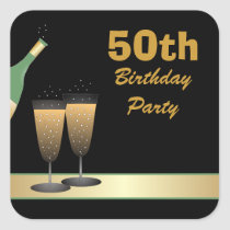 50th Birthday Party Stickers