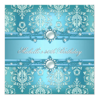 50th Birthday Party Teal Blue Pearl Damask Floral Card