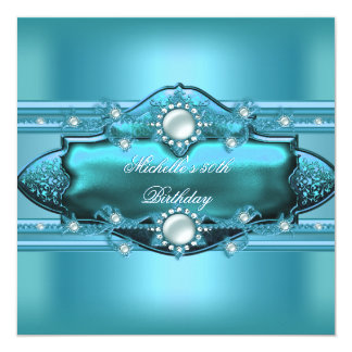 50th Birthday Party Teal Blue Pearl Jewel Card