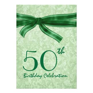 50th Birthday Party Template GREEN Bow Custom Invitation