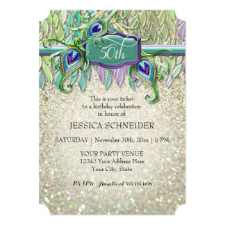 50th Birthday Party Ticket Peacock Feather Card