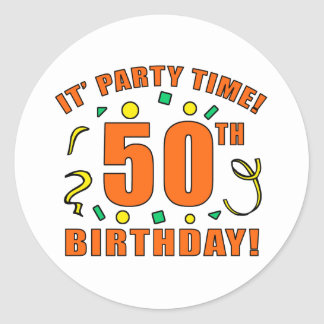 50th Birthday Party Time Stickers