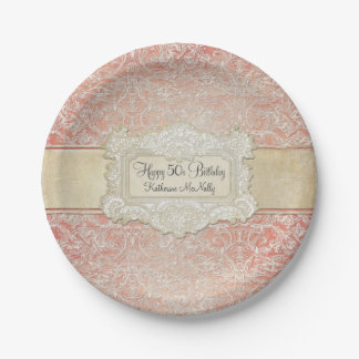 50th Birthday Party Vintage French Regency Lace Paper Plate