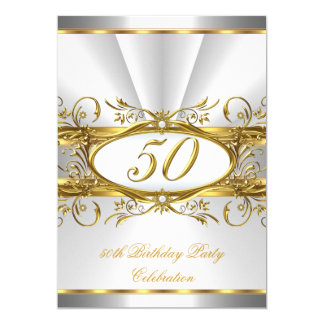 50th Birthday Party White Gold Floral Silver Card