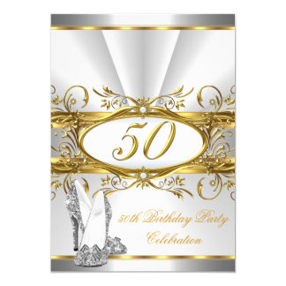 50th Birthday Party White Gold Silver Heels 5x7 Paper Invitation Card