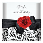 50th Birthday Party White Silver Flower Black Bow 5.25x5.25 Square Paper Invitation Card