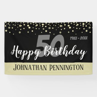 50th Birthday Party with Confetti Banner