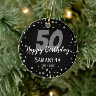 50th Birthday Party with Confetti black Ceramic Ornament