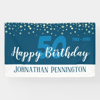 50th Birthday Party with Confetti Blue Banner