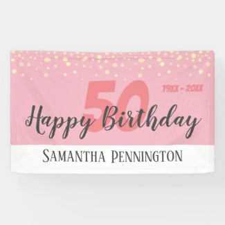 50th Birthday Party with Confetti Pink Banner