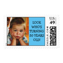 50th Birthday Party With Photograph Postage