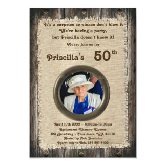 50th,Birthday Party woman, any age,wood,rustic Card
