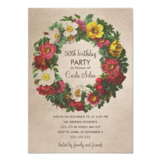 50th Birthday Party Women Vintage Floral Wreath 4.5x6.25 Paper Invitation Card