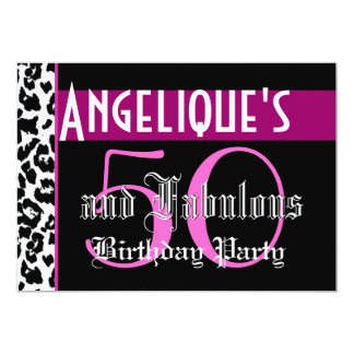 50th Birthday Party  Zebra Pink Black Z392 Personalized Announcements