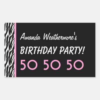 50th Birthday Party Zebra with Pink Custom Name Rectangular Stickers