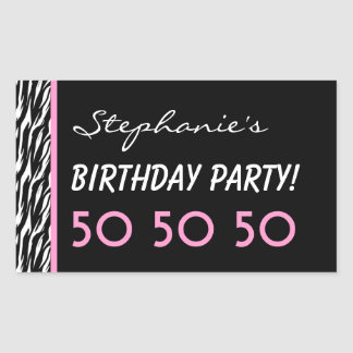 50th Birthday Party Zebra with Pink Custom Name V2 Rectangle Stickers