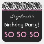 50th Birthday Party Zebra with Pink Custom Name V3 Square Sticker