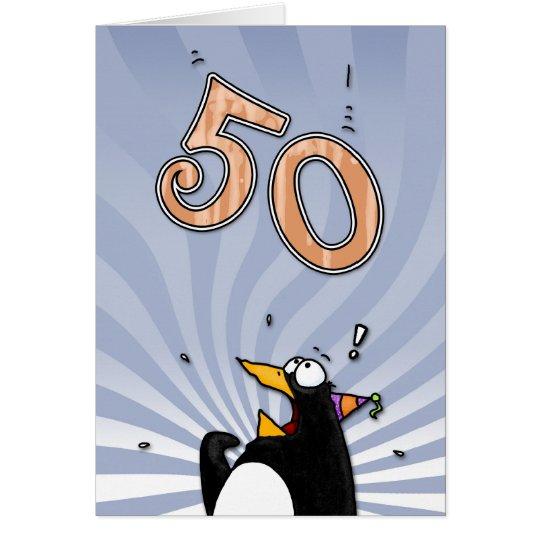 50th Birthday - Penguin Surprise Card