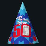 """50th birthday personalized photo star name hat<br><div class=""""desc"""">Bright star pattern add your own photo and name party hat. Ideal for a special boys 50th birthday party celebration. Colorful red and blue design. Background colour can also be changed for your own choice currently light blue. Original art and design by Sarah Trett. www.sarahtrett.com for www.mylittleeden.com</div>"""
