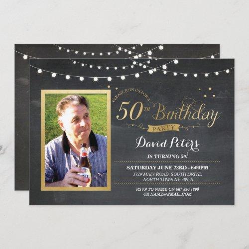 50th Birthday Photo Chalk Rustic Gold Invitation